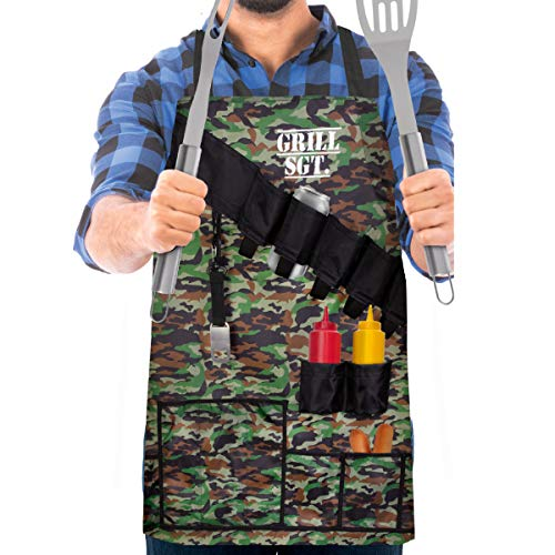 - Wembley Pocketed BBQ Grill Apron for Men, Funny, Grill Sergeant, Attached Bottle Opener, 15 Pockets for Barbecue Tools, Comfortable Lightweight Nylon, One Size Fits Most, Adjustable, Reinforced, Camo