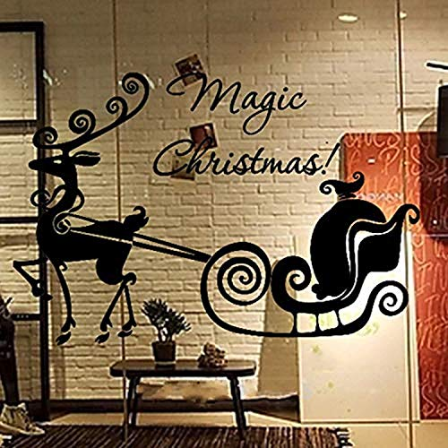 Special Magic Christmas Decorative Sled Reindeer Showcase Window Glass Elk Home Wall Decals Decor Vinyl Sticker SK13320