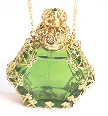 Amazon czech victorian style decorative perfume bottle czech victorian style decorative perfume bottle pendant necklace gold plated mozeypictures Choice Image