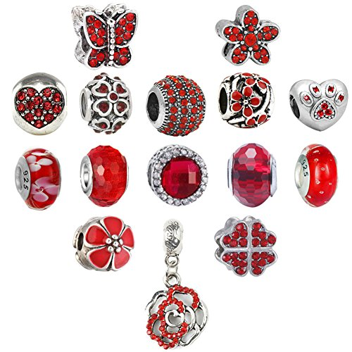 N'joy 16PC Assorted Crystal Rhinestone Charm Beads,Clap,Stoper,Dangle Pendant,Fit European Charm Bracelet,April Birthstone ()