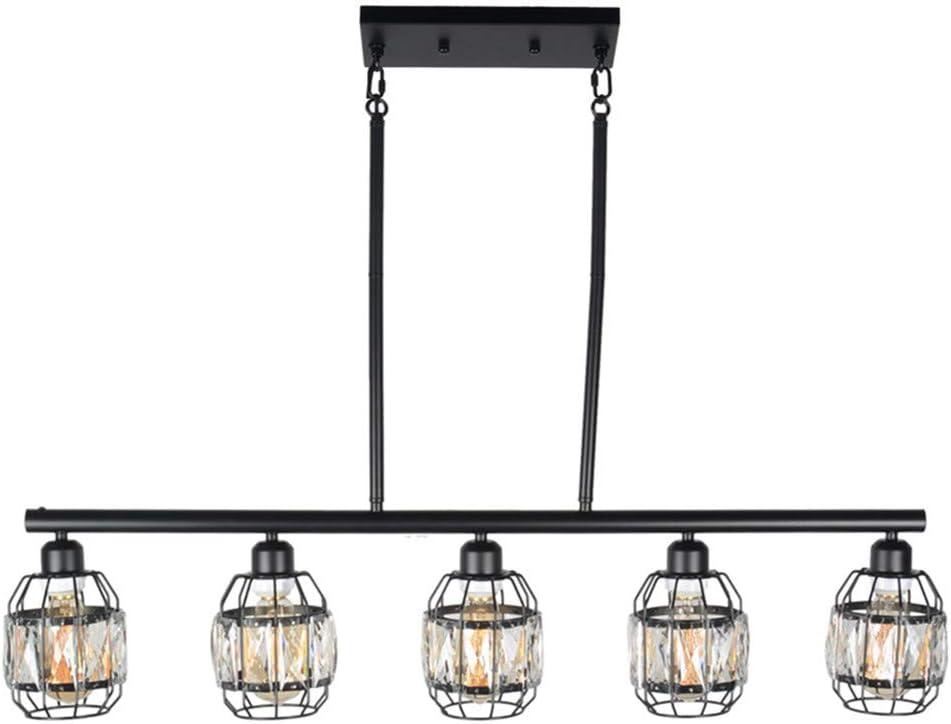 Baiwaiz Crystal Cage Pendant Lighting for Kitchen Island, Metal Black Industrial Pool Table Light Fixture Modern Dining Room Linear Chandelier Light 5 Lights Edison E26 100