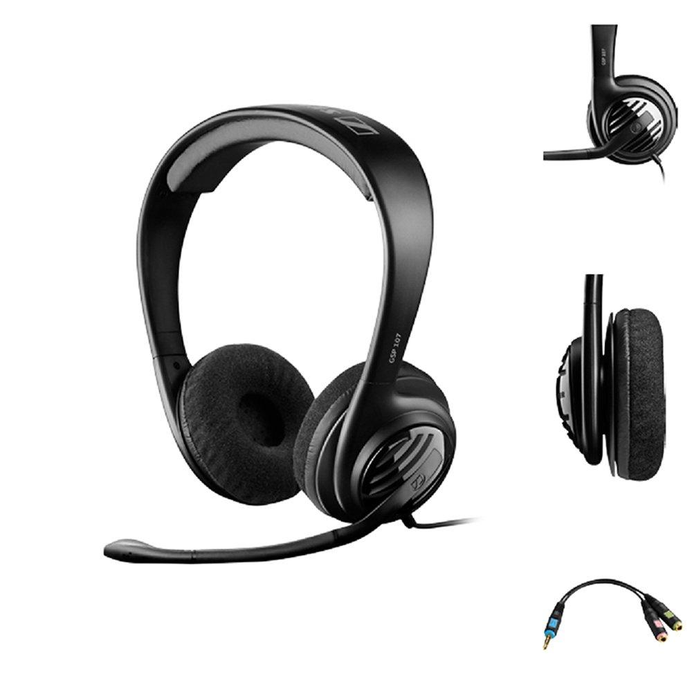 Sennheiser GSP 107 Binaural Diadema Negro Auricular con micr/ófono Auriculares con micr/ófono PC//Juegos, Binaural, Diadema, Negro, Al/ámbrico, 3 m