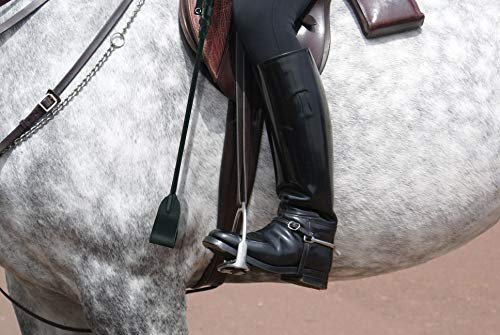 Bekinky Riding Crop Horse Whip Flogger with Premium Leather Slapper Jump Bat (Black, 20.5inch)