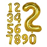 40 Inch Gold Foil Balloons Number 2, Number Balloons for Birthday Anniversary Party (Gold 2)