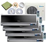 Klimaire 4 Zone Multi Split 4 x 12,000 Btu Ductless Wall Mount - DC Inverter Air Conditioner-Heat Pump-16 SEER-220 V with Complete Quick Installation Kit Set of 4