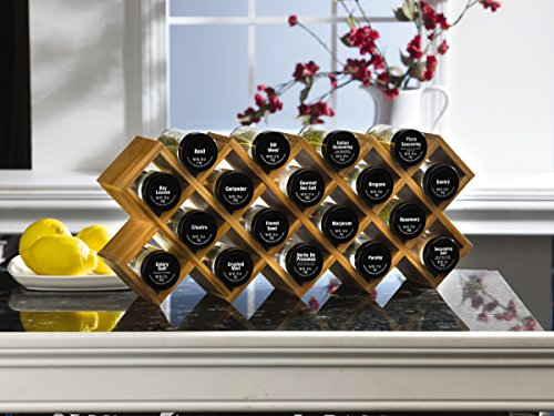 Kamenstein 5085178 Criss-Cross 18-Jar Bamboo Countertop Spice Rack Organizer with Free Spice Refills for 5 Years