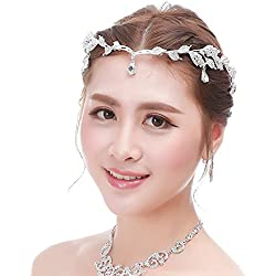 Bellady Bridal Bridesmaid Wedding Headpiece Forehead Rhinestone Headband Chain