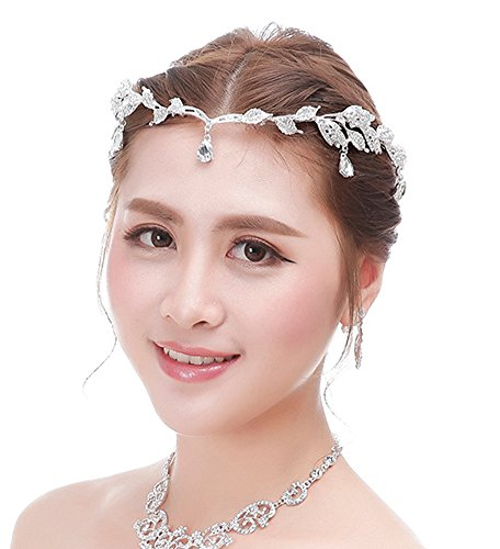 Bellady Bridal Bridesmaid Wedding Headpiece Forehead Rhinestone Headband Chain, Silver, One size