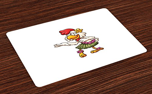 Lunarable Chicken Place Mats Set of 4, Hawaiian Dancer Chick with Grass Skirt and Ornate Flowers Funny Cartoon Character, Washable Fabric Placemats for Dining Room Kitchen Table Decor, (Grass Table Skirts Cheap)