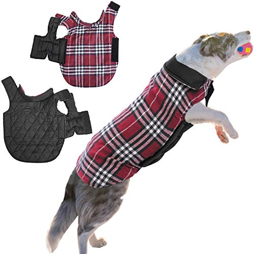ASENKU Dog Coat Dog Jacket for Winter Cold Weather Windproof Waterproof Dog Clothes Reversible British Style Plaid Pet Dog Warm Vest for Small Medium Large Dogs
