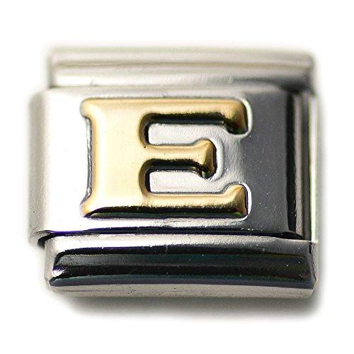 Dolceoro Initial E Letter Alphabet, 9mm Type Italian Modular Charm Bracelet Link - Stainless Steel (Italian Charm Bracelet)