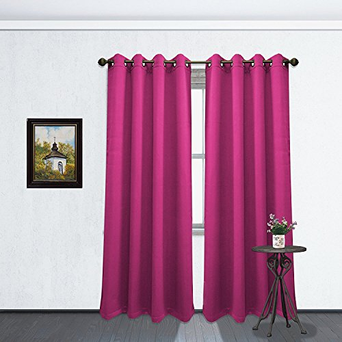 Kashi Home Solid Color Grommet Blackout Room Curtain Panel, Soft Thermal Insulated Room Darkening Window Drape, 54 x 84 Inch, Tessa Single Panel (Fuchsia)