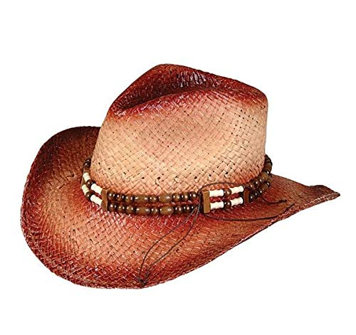 Rhode Island Novelty New 2-Tone Woven Cowboy Cowgirl Hat with Beaded Band | One size