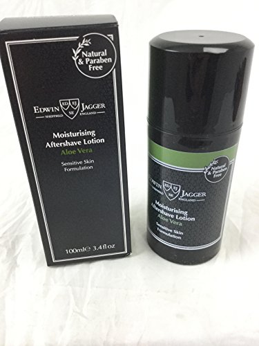 Edwin Jagger 99.9% Natural Moisturising Aftershave Lotion - Aloe Vera, 3.4-Ounce