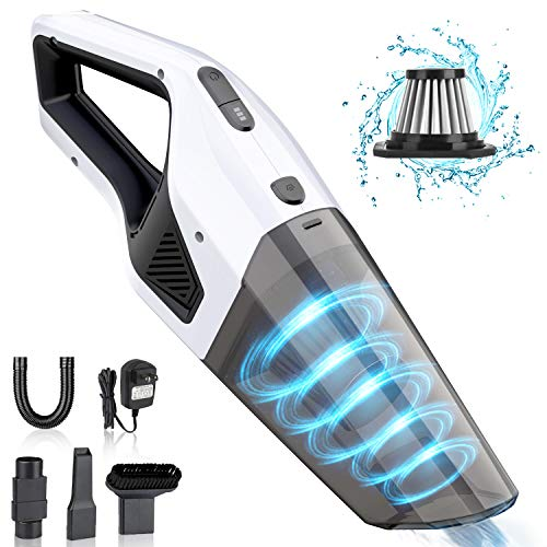 Handheld Vacuum Cleaner Cordless, Rechargeable Car Vacuum 7000PA Powerful Suction Lightweight Wet/Dry Vacuum Cleaner Portable Household Portable Hand Vac with Stainless Steel Filter for Car, Pet, Home