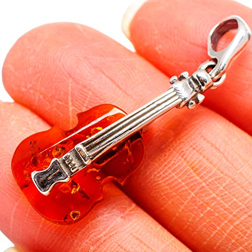 "Genuine Baltic Amber Violin 925 Sterling Silver Pendant 1 1/2"" - Handmade Boho Vintage Jewelry PD664119 from Ana Silver"