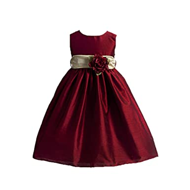 81804937f Amazon.com  Classy Solid Color with Sash Flower Girl Dress for all ...
