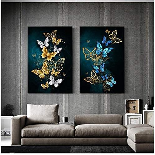 ビッグウォールアート写真大サイズ抽象蝶ブルーゴールデン絵画絵画ビッグポスター印刷用サロン-40x60cmx2枠なし