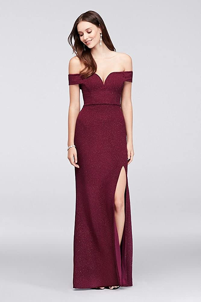 ce8ada0ee8d David s Bridal V-Wire Off-The-Shoulder Glitter Knit Gown Style 1950HN1A at  Amazon Women s Clothing store