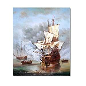 Sail boat oil painting seascape art on for Oil paintings for sale amazon