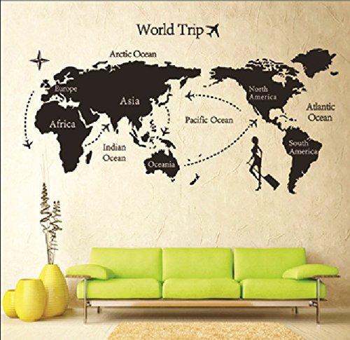 HYLong Papier Peint D?coration Maison Neuf Stickers Muraux Carte du Monde (Color: Black)