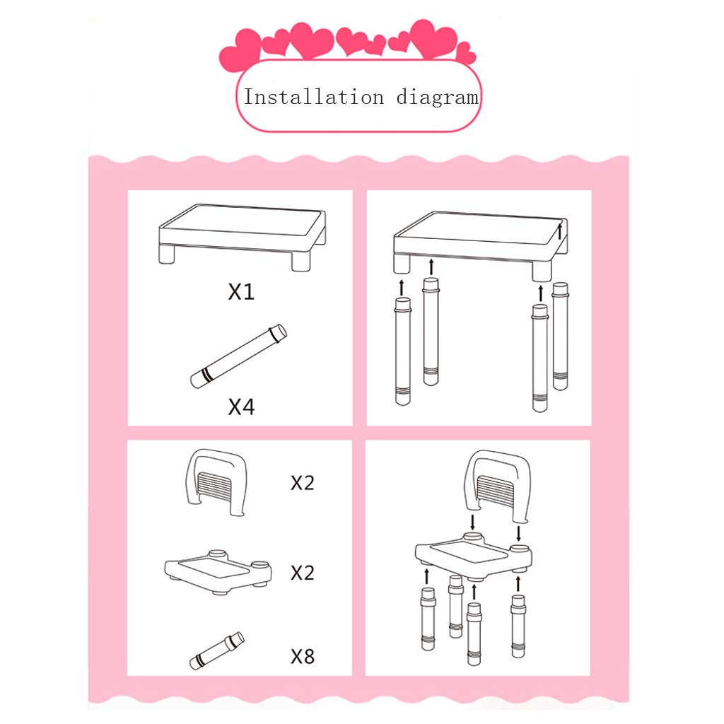 Wesracia Kids Table and Chairs Set - US Made - Toddler Activity Sturdy Plastic Desk for Lego, Reading, Play (2 Seats & 1 Table) (Pink) by Wesracia (Image #9)
