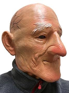 ANTIGUO Hombre Abuelo Big Barbilla Máscara Cabeza Completa Suave Látex Disfraz