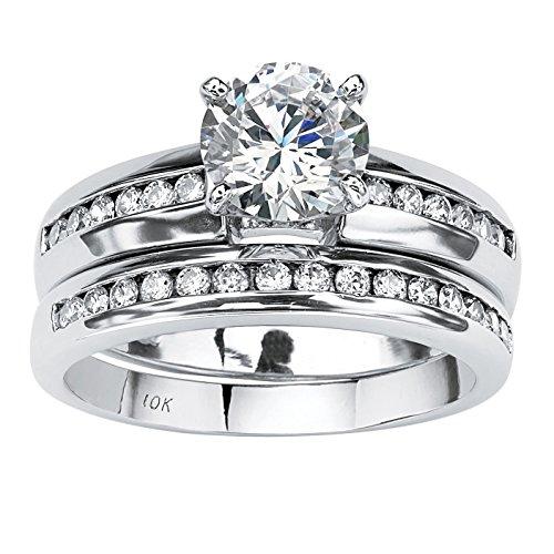 Round White Cubic Zirconia 10k White Gold 2-Piece Channel-Set Bridal Ring Set