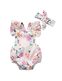 XWDA Baby Girls Romper Cotton Baby Jumpsuits Bodysuits Outfit with Headband