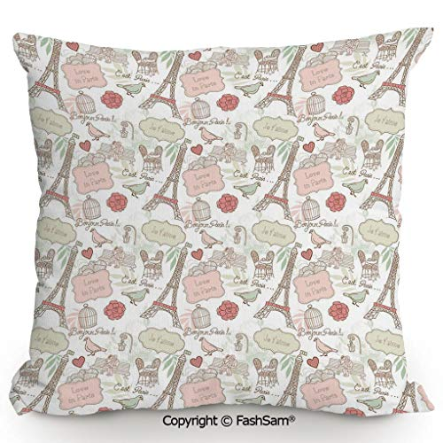 Home Super Soft Throw Pillow French Pop Culture Lovers in Streets Bonjour Je Taime Flower Pastel Life Image for Sofa Couch or Bed(16
