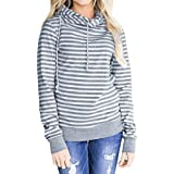 Womens Hoodie,FUNIC Long Sleeve Hoodie Sweatshirt Striped Hooded Pullover Tops Blouse (L, Gray)