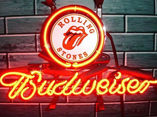 Desung Brand New 14''x10'' B udweiser Rolling Stones Neon Sign (Various Sizes) Beer Bar Pub Man Cave Glass Neon Light Lamp BW33