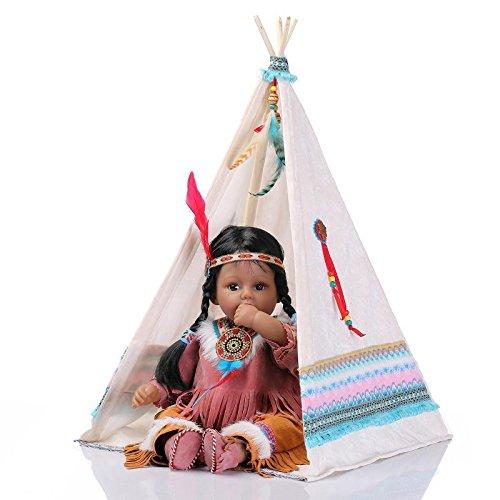 Nicery Neugeboren Baby Puppe Indian Style Black Skin 20inch 50cm Silikon Vinyl Magnetisch Mund Naturgetreue Jungen Mädchen Spielzeug Weiß Zelt Reborn Doll A3DE