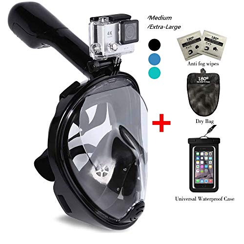 180° Snorkel Mask View for Adults and Youth. Full Face Free Breathing Design.[Free Bonuses] Cell Phone Universal Waterproof Case (Dry Bag) and Anti-Fog Wipes (Black, Large/Extra Large)