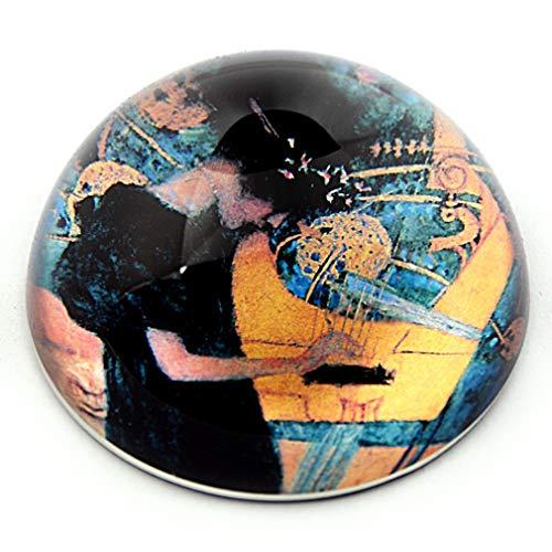 (Klimt Art Nouveau Woman Playing Music on Harp Glass Paperweight Paper Weight)