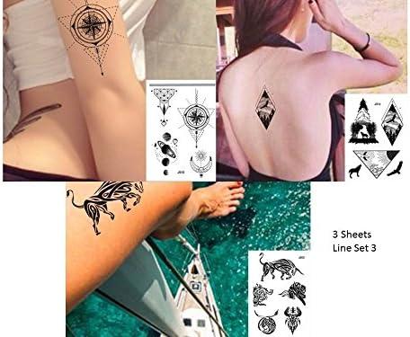 gráfica de tatuajes líneas Tatuajes 3 pliegos Juego Fake Tatuajes ...