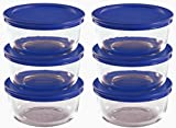Pyrex Storage 2 Cup Round Dish, Clear with Blue Lid, Pack of 6 Containers,12-Piece