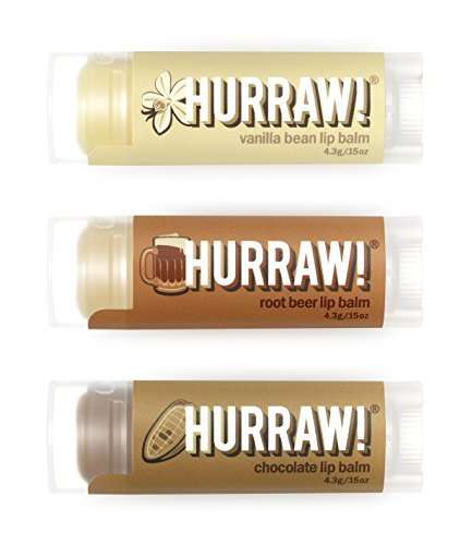 (Hurraw Vanilla Bean, Root Beer, Chocolate Lip Balms Bundle, 3 Pack)