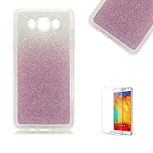 Samsung Galaxy Note 5 Case [with Free Screen Protector], Funyye Luxury Bling Glitter Shiny Sparkly Crystal Clear Ultra Slim Thin Purple Gradual Colour Changing Protective TPU Soft Silicone Rubber Gel Bumper Case Cover for Samsung Galaxy Note 5