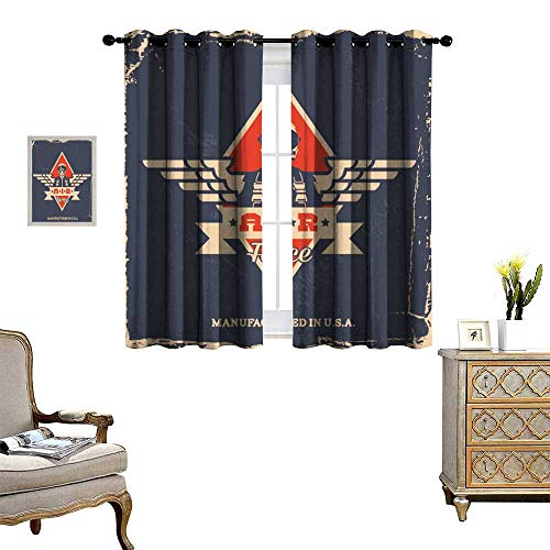 fengruihome Thermal Insulated Blackout Curtain Light Blocking Curtains for Living Room/Bedroom Vintage Air Force Label Pilot T Shirt Print ()