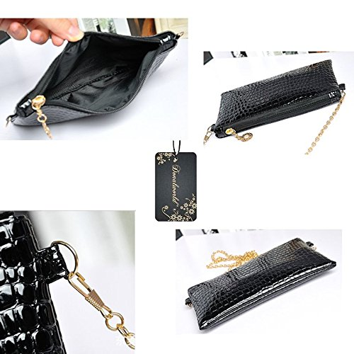 Women Donalworld Shoulder Chain Alligator Black Strap Pattern Bag dwBqarw