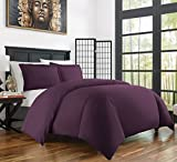 Purple Duvet Cover Zen Bamboo Ultra Soft 3-Piece Bamboo Derived Rayon Duvet Cover Set - Hypoallergenic and Wrinkle Resistant - Full/Queen - Purple