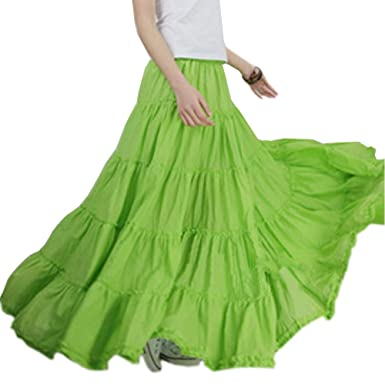 fa08464c6f Women Simple Cotton Gypsy Maxi Skirt Boho Long Tiered Skirt (Apple Green)