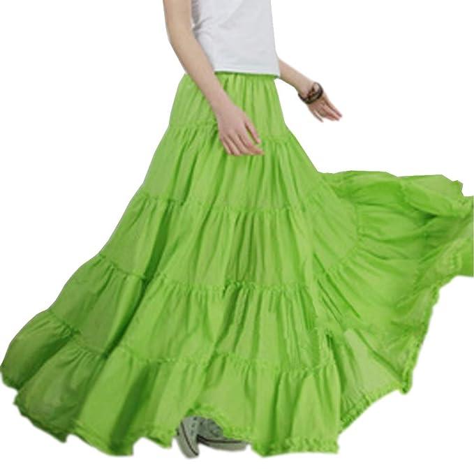 552dd2cda9f Backgarden Women Simple Cotton Gypsy Maxi Skirt Boho Long Tiered Skirt  (Apple Green)
