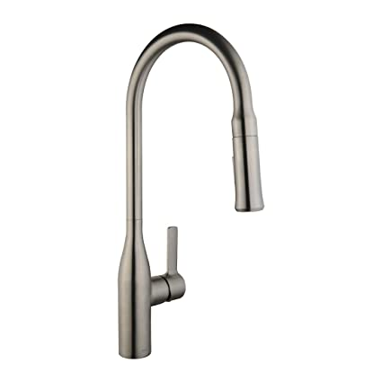 keewi brushed nickel pull out kitchen faucet kitchen faucets single rh amazon com brushed nickel kitchen faucets at home depot brushed nickel kitchen faucet moen