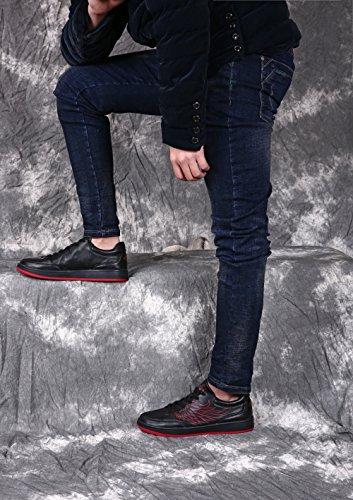 Nere Donna Basse Respirabile da Pelle Sneakers Soulsfeng Nero Lacci Uomo Skateboard Scarpe Sp5qwzx