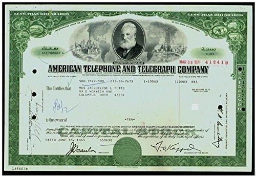 (1963 SCARCE ORIGINAL VINTAGE GREEN AT&T (AMERICAN TELEPHONE TELEGRAPH) STOCK CERTIFCATE! ALEXANDER GRAHAM BELL VIGNETTE! 100 Shares Crisp XF-AU)