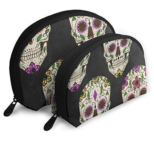 Makeup Bag Yellow Floral Flower Skull Halloween Black Portable Half Moon Beauty Bags Organizer For Women -