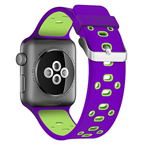 Rykimte Watch Band Soft Silicone Double color Breathable Band Sport Style Replacement Strap Wristband with Adjustable Buckle For Apple Watch iWatch For woman women girl lady ( Purple green 42mm)