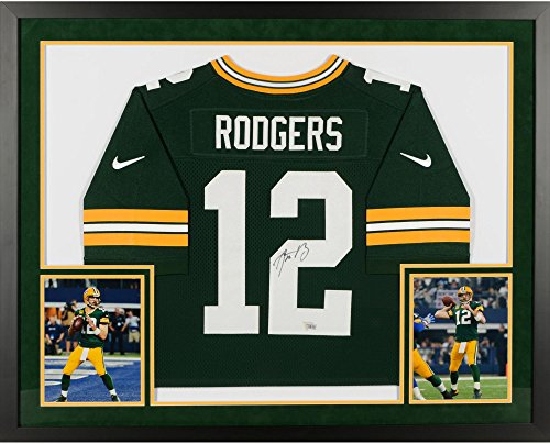 Aaron Rodgers Green Bay Packers SM Deluxe Framed Autographed Nike Green Elite Jersey - Fanatics Authentic Certified ()